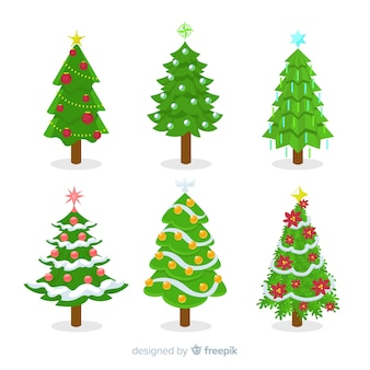Christmas tree collection in flat design