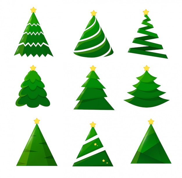 Christmas tree collection on a white background.