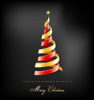 빨간색과 황금색 리본으로 구성된 크리스마스 트리. 인사말 카드, 배너 또는 포스터 배경