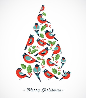 Christmas tree composed of robins and mistletoes .  background for greeting card, banner or poster
