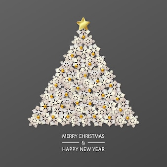 Christmas tree composed of white snowflakes on dark background in a minimalistic style