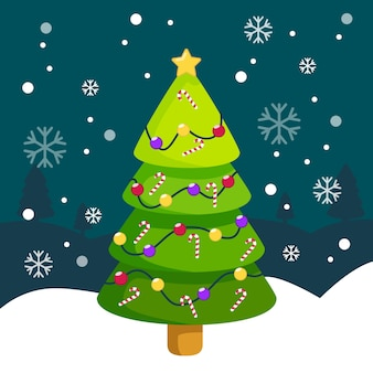 Christmas tree concept in flat design