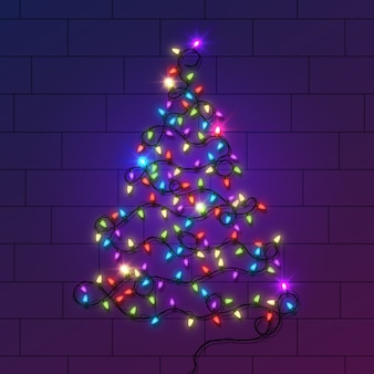 Christmas tree concept made of light bulbs
