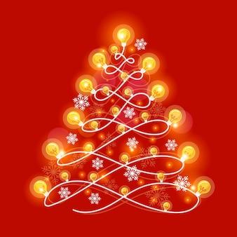 Christmas tree concept made of light bulbs