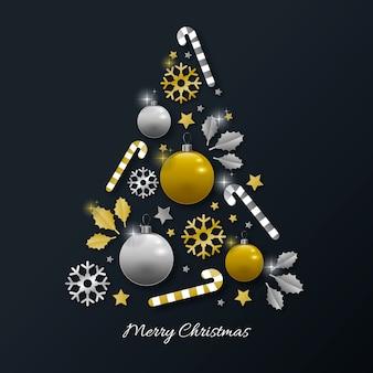 현실적인 황금 장식으로 만든 크리스마스 트리 개념