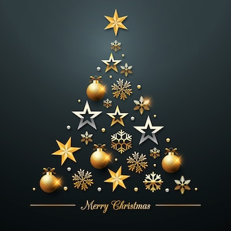 Christmas tree concept made of realistic golden decoration