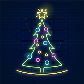 Christmas tree concept neon design