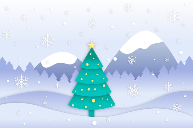 Christmas tree concept in paper style