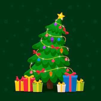 Christmas tree concept with 2d style