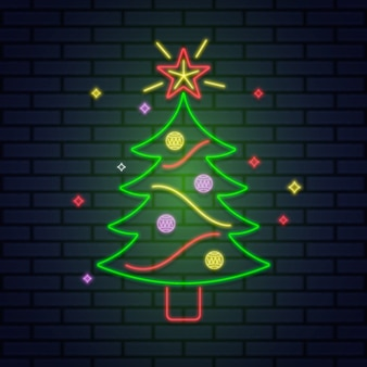 Christmas tree concept with neon design