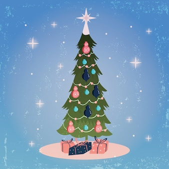 Christmas tree concept with vintage design
