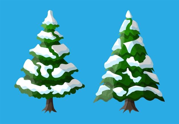 クリスマスツリーは雪で覆われています。スプルース、常緑樹。グリーティングカード、お祝いポスター、パーティの招待状の要素。クリスマスと新年。