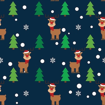 Christmas tree and cute deer pattern