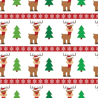 Christmas tree and cute deer with xmas hat seamless pattern