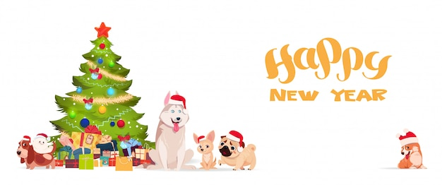 Christmas tree and cute dogs in santa hats on white background happy new year banner holiday gr