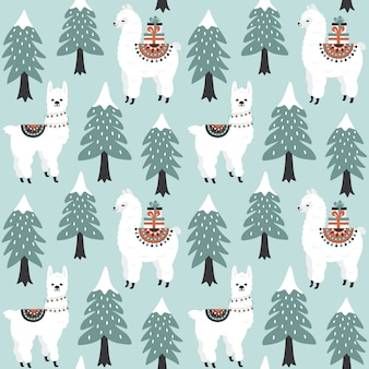 Christmas tree and cute lama with gift boxes seamless pattern.