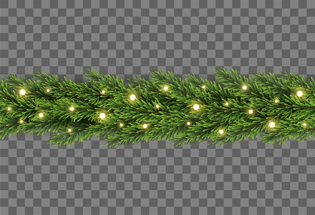 Christmas tree decor with fir branches and lights on transparent background