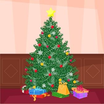 飾られたクリスマスツリーとクリスマスプレゼント