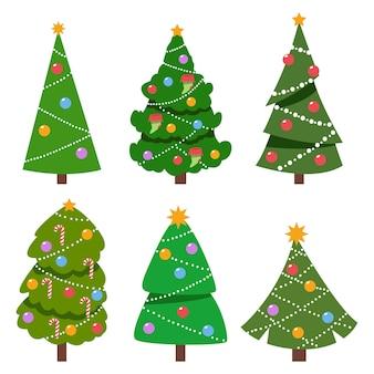 クリスマスツリーは、カラフルなボールと白で隔離の上のベクトル漫画セットの星を飾った