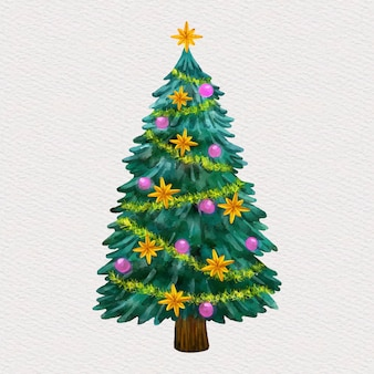 Christmas tree decorated in watercolor