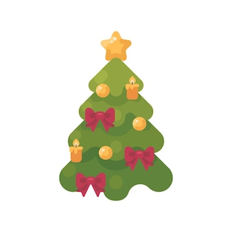 Christmas tree decorated with baubles, ribbons and candles. new year flat icon