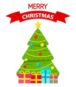 花輪とボールで飾られたクリスマスツリーは贈り物を包んだ