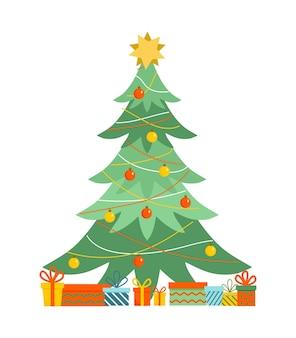 カラフルなクリスマスボールとプレゼント付きのストライプのクリスマスツリーの飾りクリスマス新年