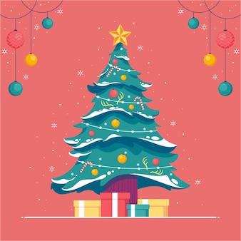 クリスマスツリーの装飾フラットデザインイラスト背景