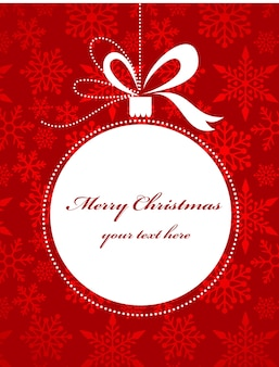 Украшение рождественской елки на красном фоне с узором снежинок. иллюстрация