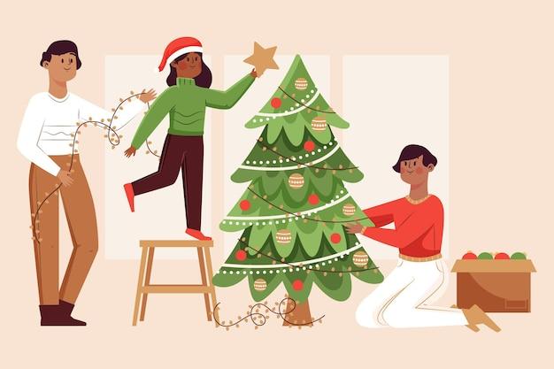 Illustrazione della scena della decorazione dell'albero di natale