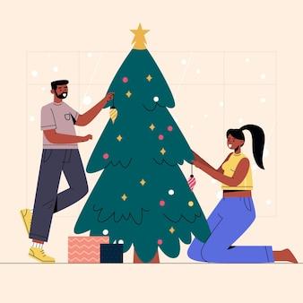 クリスマスツリーの装飾シーン