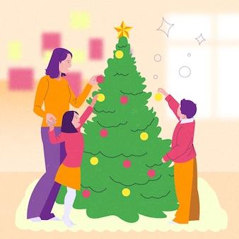 Сцена украшения рождественской елки