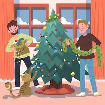 Scena della decorazione dell'albero di natale