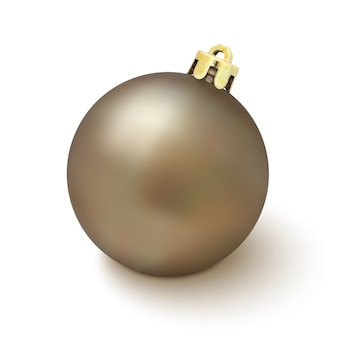 Christmas tree decoration  on white background. golden christmas ball.  illustration.