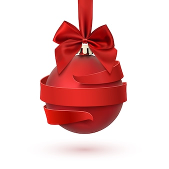 붉은 나비와 리본, 흰색 배경에 고립 된 크리스마스 트리 장식. 인사말 카드, 브로셔 또는 포스터 템플릿.