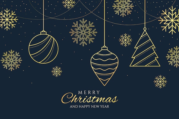 Christmas tree decorations background in outline style