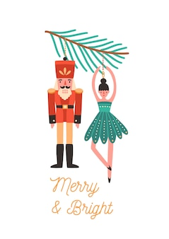 Christmas tree decorations flat illustration. xmas greeting card design element. holiday postcard concept with calligraphy. nutcracker and ballerina toys hanging on fir tree branch.