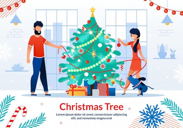 Christmas tree decorations flat template