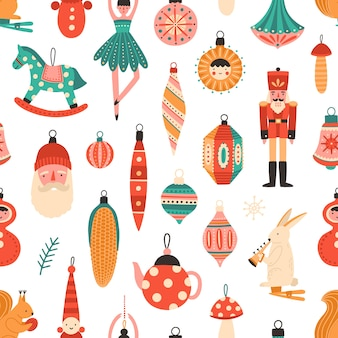 Christmas tree decorations seamless pattern