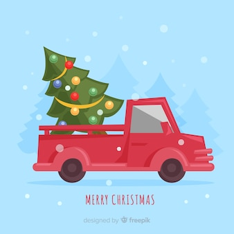 Christmas tree delivery truck background