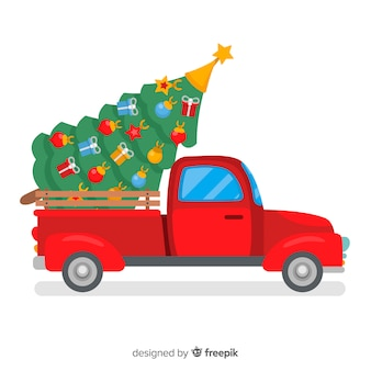 Christmas tree delivery truck illustration