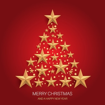 ゴールドのキラキラ星のクリスマスツリーのデザイン