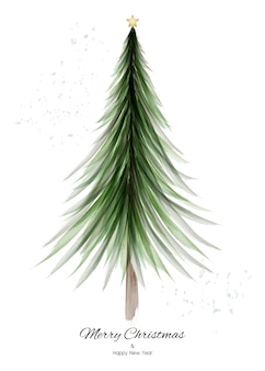 白い背景に緑の水彩画とクリスマスツリーのデザイン。