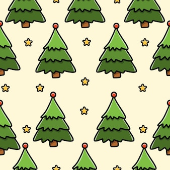Christmas tree doodle seamless pattern design