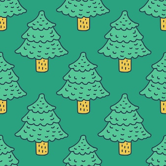 Christmas tree drawing pattern. fir cartoon style. spruce background