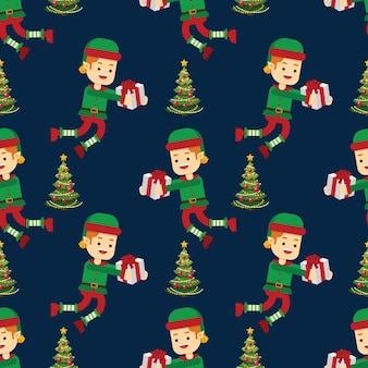 Christmas tree and elf with candy cane seamless pattern