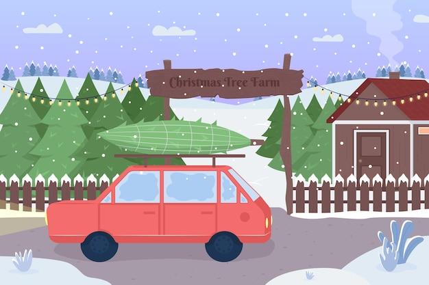 クリスマスツリー農園フラットカラーイラスト