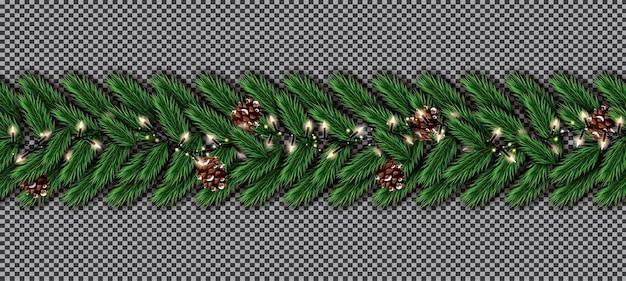 透明な背景にガーランドとコーンとクリスマスツリーモミの境界線。リアルに見えるクリスマスツリーの枝の境界線。