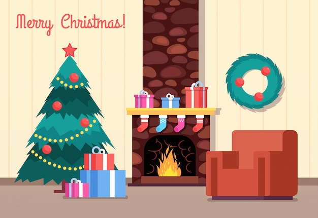 Christmas tree and fireplace. living room with gifts on fireplace. happy new year and winter holiday vector cartoon greeting card