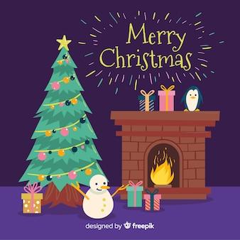 Christmas tree fireplace scene